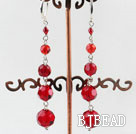 red manmade crystal beaded earrings