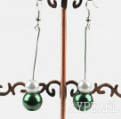 dangling white and green acrylic ball earrings under $ 40