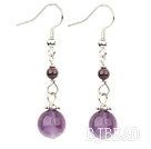 garnet and natural amethyst earrings