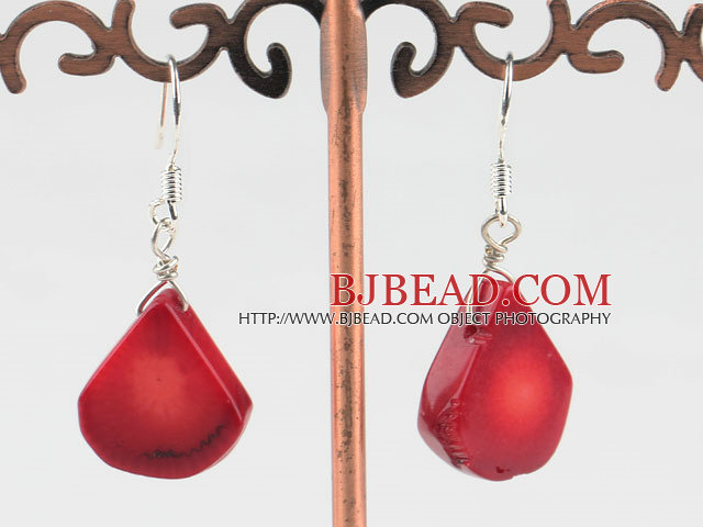 Lovely Style Drop Shape Red Coral Earrings