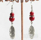 alaqueca tibet silver leaf beaded earrings