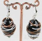 lovely black colored glaze earrings
