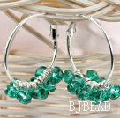 trendy manmade green faceted crystal hoop earrings under $ 40