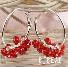 trendy manmade red faceted crystal hoop earrings under $ 40