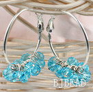 trendy manmade sea blue faceted crystal hoop earrings under $ 40