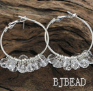 trendy manmade clear faceted crystal hoop earrings under $ 40