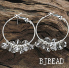 trendy manmade light grey faceted crystal hoop earrings under $ 40