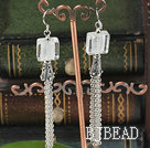 dangling style clear colored glaze earrings with tassel under $ 40
