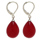 drop shape red sea shell beads earrings