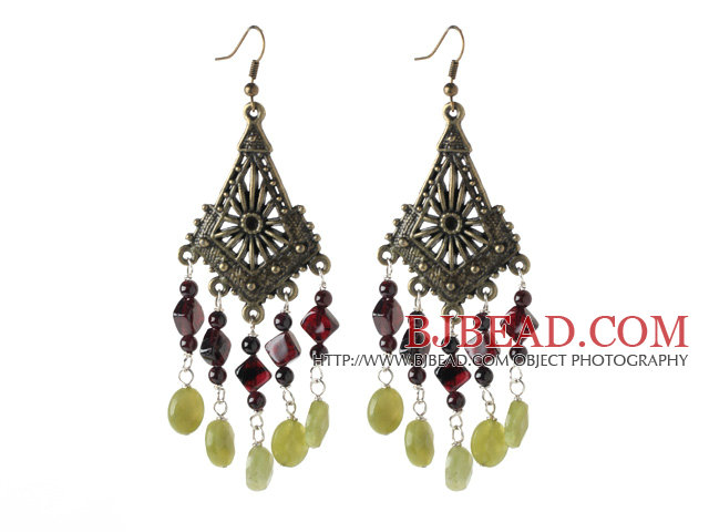 vintage style garnet and peridot jade earrings