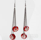 Dangle Style Red Colored Glaze Long Earrings