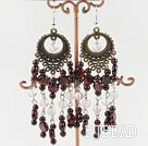 popular rose quartz and garnet vintage earrings