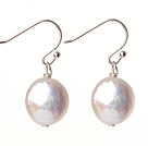 cute white fresh water button pearl earrings
