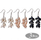 3 Pcs Fashion Style Cluster Shape Natural White Pink And Black Pearl Dangle Earrings