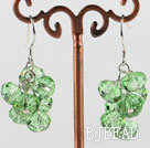 trendy manmade cluster style green crystal earrings