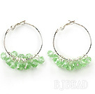 trendy manmade light green crystal hoop earrings