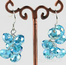 trendy manmade cluster style blue crystal earrings