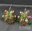 Fashion Style Champagne Series Champagne and Colorful Crystal Flower Earrings