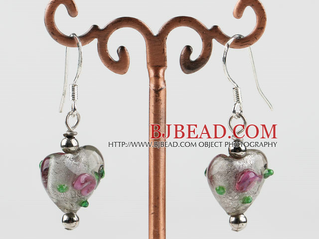 lovely gray heart shape colored glaze earrings