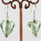 green heart shape colored glaze earrings