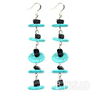 dangling style turquoise and black stone earrings