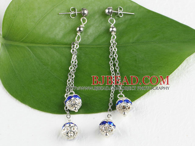 dangling style blue color rhinestone ball earrings