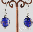 lovely round shape blue colored glaze earrings