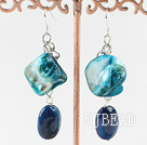 white pearl blue shell and agate earrings