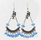 lovely white crystal earrings with girl charm
