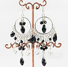 chandelier style white and black crystal earrings