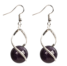 Fashion Design Amethyst Beads Spiral Shape Dangle Earrings