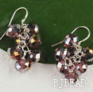 lovely 6-8mm manmade light purple crystal earrings