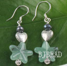 black pearl and star shape aventurine earrings with heart charm
