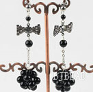 dangling black agate stone earrings with butterfly tie shape rhinestone