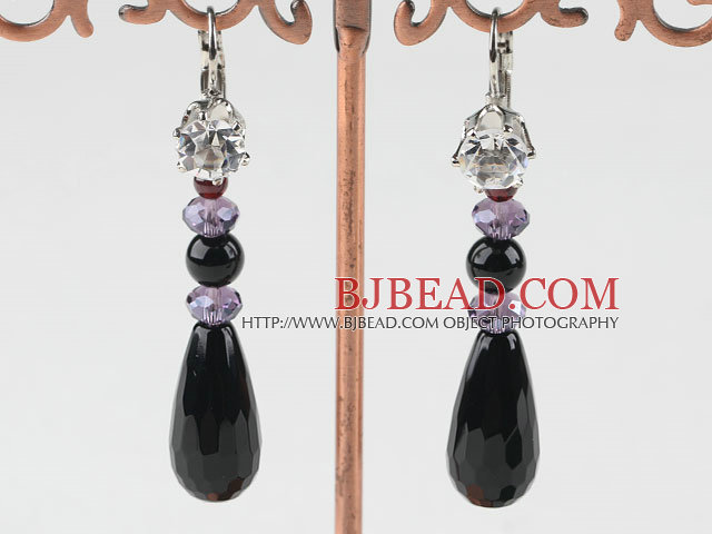 crystal and agate earrings with rhinestone