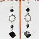 dangling black agate stone earrings with rhinestone