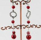 dangling red blood stone earrings with rhinestone