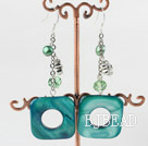 lovely green shell pearl and crystal earrings