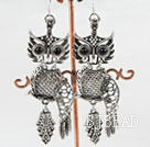 lovely owl animal shape tibet siver earrings under $ 40