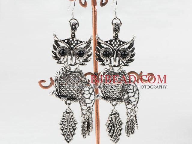 lovely owl animal shape tibet siver earrings