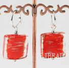 lovely square shape red colored glaze earrings