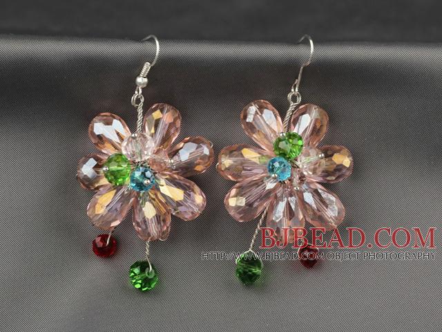 ef8fd04e15d4 Moda Estilo Rosa Serie rosa y aretes de cristal colorido de flores