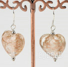 light brown heart shape colored glaze earrings