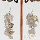 6-7mm cluster style gray agate chips earrings