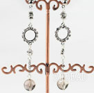 lovely dangling style smoky quartze earrings with rhinestone under $ 40