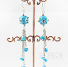 dangling blue colored glaze turquoise earinggs