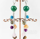lovely dangling style colorful agate ball earrings