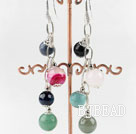 lovely dangling style colorful gemstone ball earrings