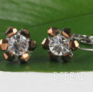 lovely brown and white crystal earrings under $ 40