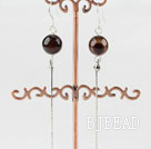 dangling style 10mm agate beads earrings